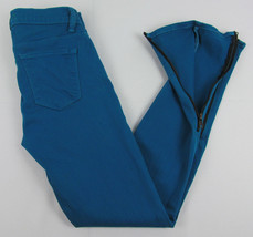 J Brand jeans Azure Ankle Skinny Zipper cuffs USA Made Teal Womens Size 25 image 2