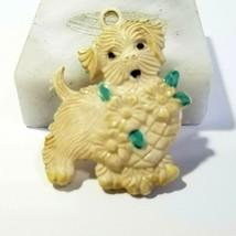 CREAMY BEIGE VINTAGE CELLULOID PUPPY DOG WITH FLOWER BASKET MID CENTURY ... - $16.00