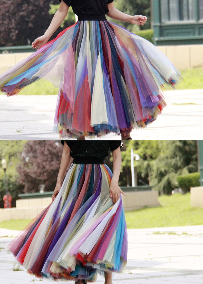 Rainbow Pleated Skirt Womens Rainbow Stripe Skirt Tulle Maxi Skirt Outfit