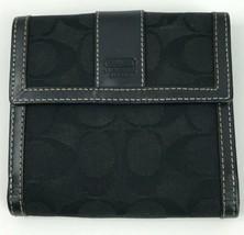 Coach Black Jacquard Signature Wallet Leather Trim Bill Fold - $39.59