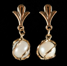 14k Yellow Gold Round Freshwater Cultured Pearl Dangle Earrings 1.1g - $115.00