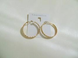 "Charter Club 1-1/2"" Large Gold-Tone Triple-Row Textured Hoop Earrings L746 $29 - $9.67"