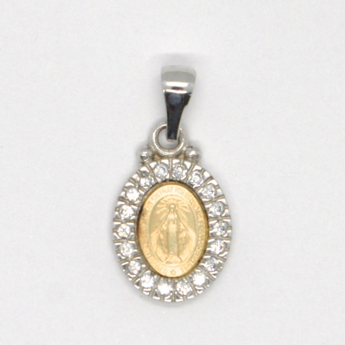 18K YELLOW WHITE GOLD ZIRCONIA MINI MIRACULOUS MEDAL VIRGIN MARY MADONNA, ITALY