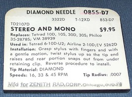 PHONOGRAPH RECORD PLAYER TURNTABLE NEEDLE for Tetrad 10D 10S 30D 30S Philco image 2