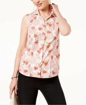 Charter Club Sleeveless Floral Printed Button-Down Shirt, NWT 6 - $10.57