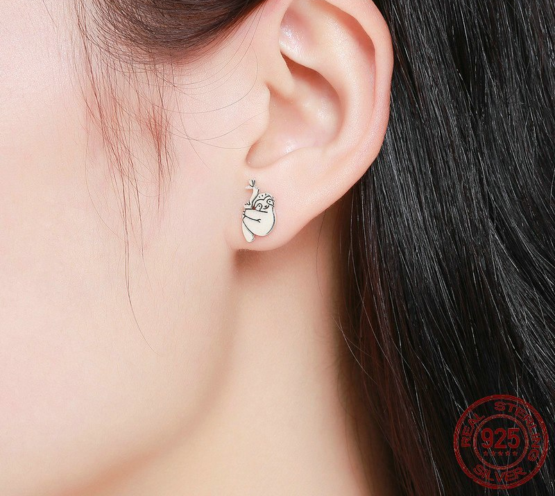 Hot Sale 100% 925 Sterling Silver Lovely Sloth Animal Small Stud