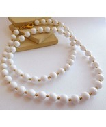 Retro Vintage Monet Classic Long White Gold Bead Necklace W22 - $14.30