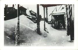 Virginia City Snowstorm C Street Looking South Snow Drifts RPPC Postcard... - $12.00