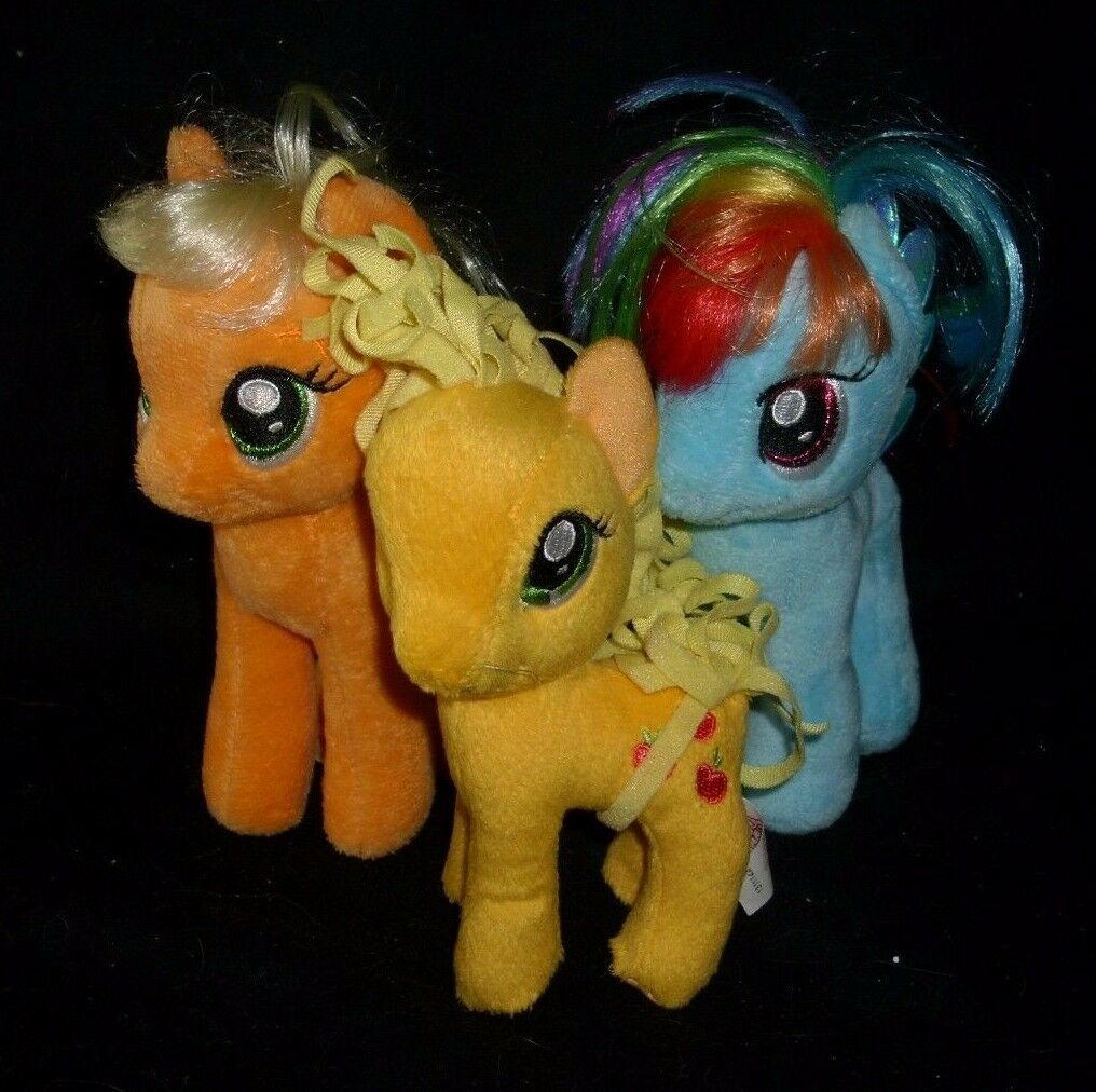 LOT 3 MY LITTLE PONY PONIES RAINBOW DASH APPLEJACK TY STUFFED ANIMAL PLUSH TOY