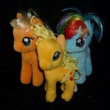 LOT 3 MY LITTLE PONY PONIES RAINBOW DASH APPLEJACK TY STUFFED ANIMAL PLU... - $17.77