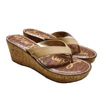 Sam Edelman Womens Sz 9.5 Romy Cork Wedge Sandals Beige Leather. - $32.71