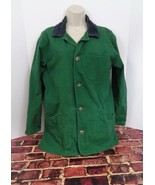 Lands' End Womans Barn Coat Jacket Green Canvas Plaid Lining Sz Medium M... - $31.64