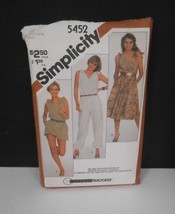 Vge 1982~Simplicity #5452~Sz 10-14~Tie at the Shoulders Dress/Jumpsuit Pattern - $6.95