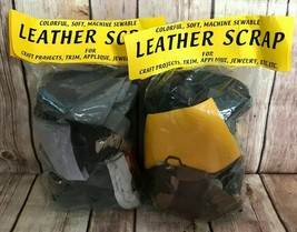 LEATHER SCRAPS Two Sealed Bags Multicolor Pieces Machine WashableBy  Lea... - $12.73