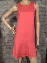 Ann Taylor Loft Dress 8 P 8P Petite (M) Coral Pink Shift Flounce Laser Cut - $30.59