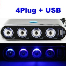 4 Way Splitter Car Cigarette Lighter Adapter  W/ USB Port Socket DC 12V/... - $9.99
