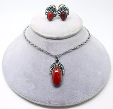 Georg Jensen Sterling Carnelian Pendant and Earrings (#3409) - $555.75