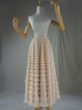 Women High Waist Tiered Tulle Skirt Polka Dot Champagne Maxi Tutu Skirt US0-US24 image 3