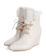 8bb125 sexy trendy Martin fur wedge booties, genuine leather, size 3-10.... - $82.80