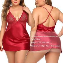 Womens Lingerie V Neck Nightwear Satin Baby Doll Lingerie Set image 4