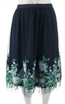 Du Jour Pull-On Floral Embroidered Mesh Midi Maxi Skirt (Navy, Large) A3... - $15.97