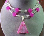 Sterling Silver Toggle Clasp Pink Drusy Druzy STONE 2 Strand Pendant Necklace