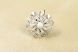 Vtg Silver Tone Iridescent Rhinestone White Bead Flower Single Screw on ... - $12.86