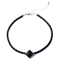 Black Orange Braided Leather Choker Necklace Women Necklace Handmade Acc... - $5.52