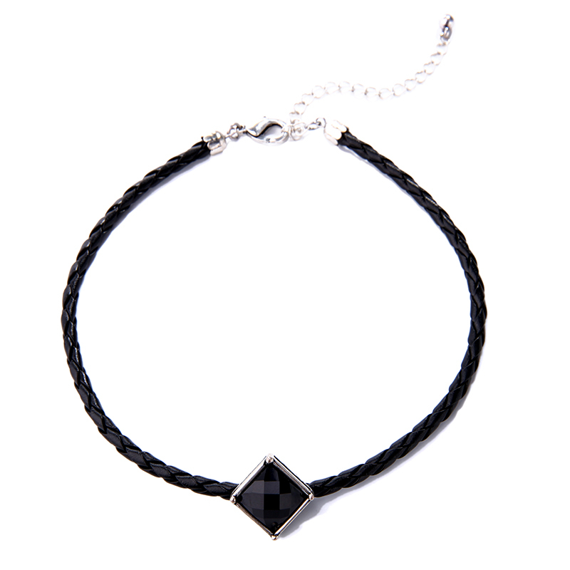 Imitation leather choker necklace square charm best friend women necklace handmade accessories 1