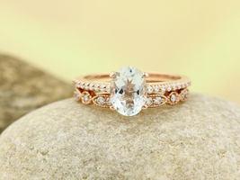 8x6MM Oval D/VVS1 Diamond Engagement Ring Set 14k Rose Gold .925 Silver - $111.99