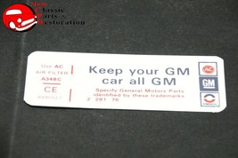 77 Camaro Oldsmobile 350 Hi-Performance Keep Your GM All GM Air Cleaner Decal - $15.75