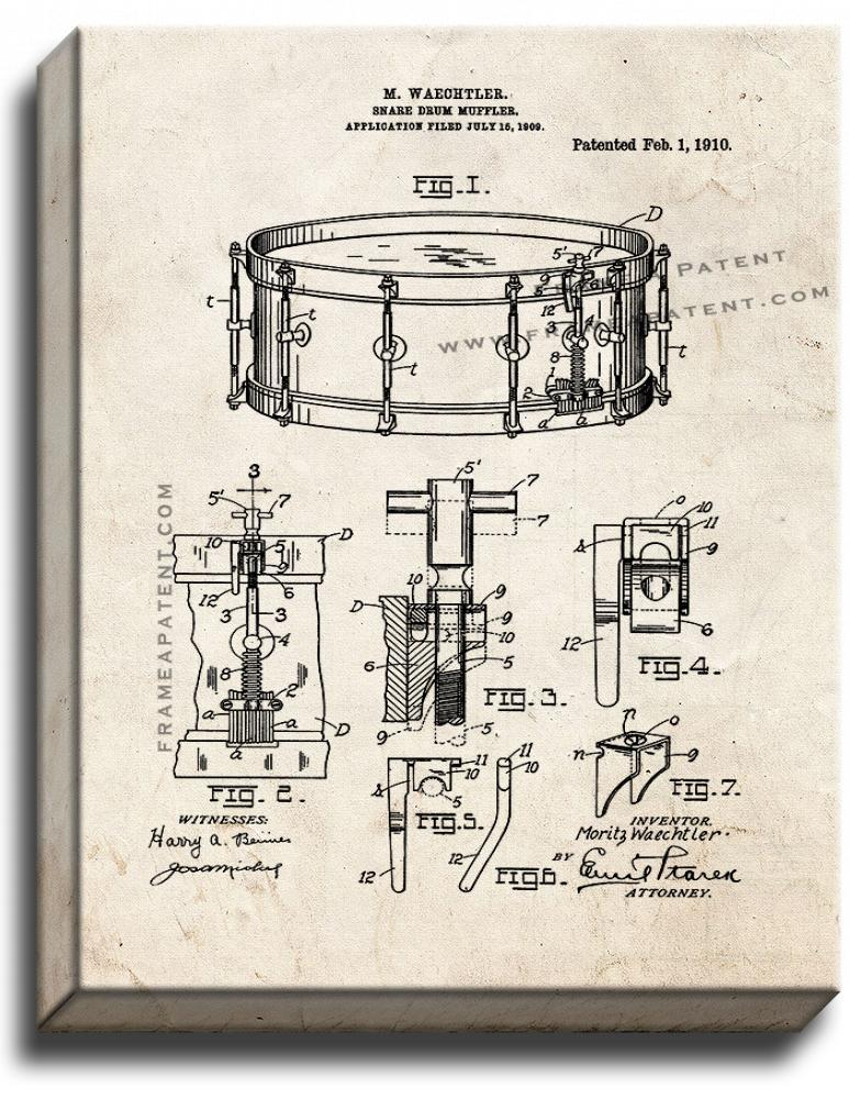 Primary image for Snare Drum Muffler Patent Print Old Look on Canvas