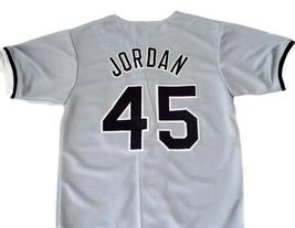 Michael Jordan #45 Birmingham Barons Button Down Baseball Jersey Grey Any Size image 2