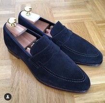 Handmade Men's Navy Blue Slip Ons Loafer Suede Shoes image 4