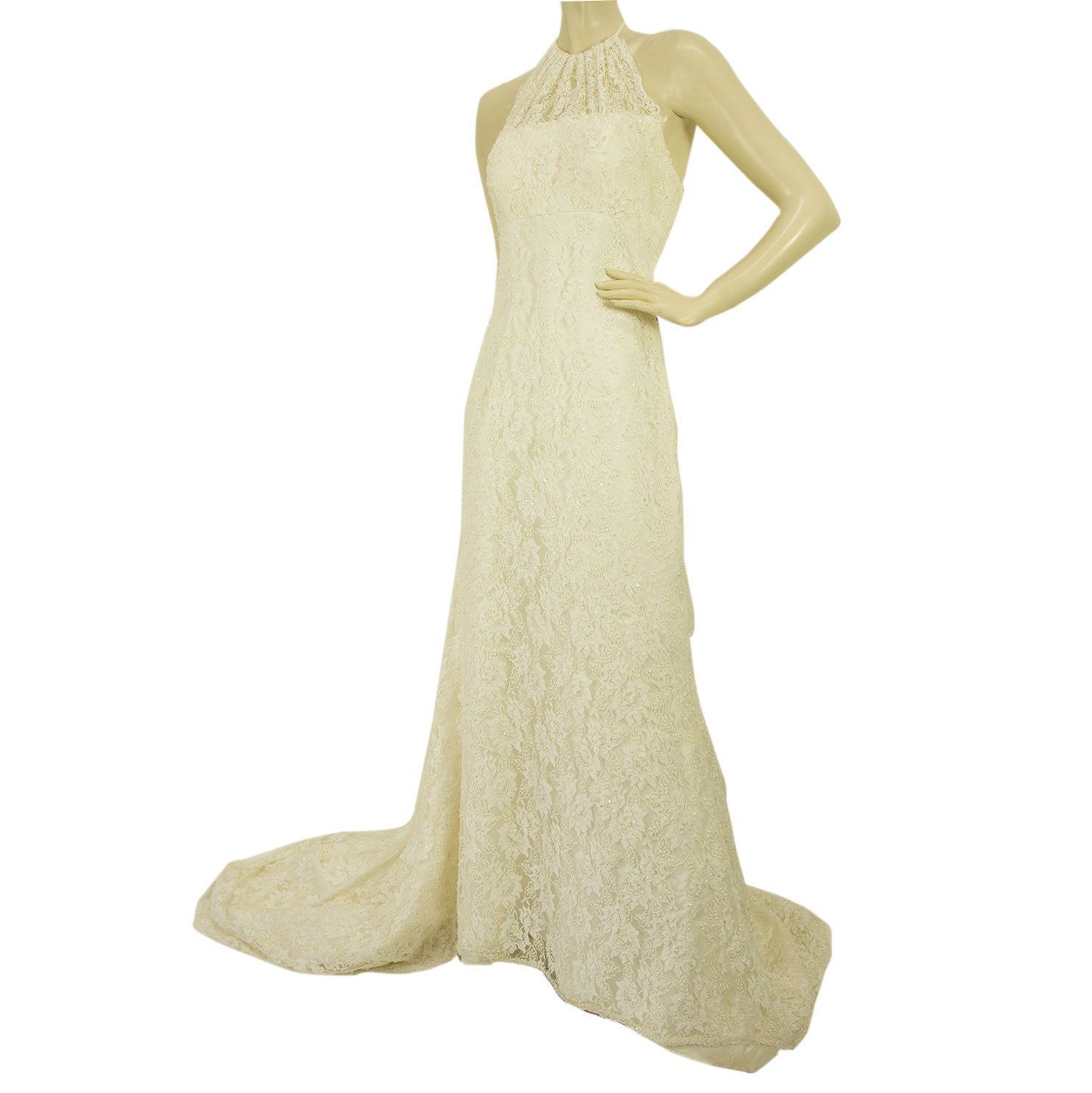 Pronovias White Beaded Floor Length Bridal Wedding Gown Halter Lace Dress 42 It