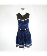Black blue uneven striped ROBERTO CAVALLI sleeveless A-line dress IT44 10 - $399.99