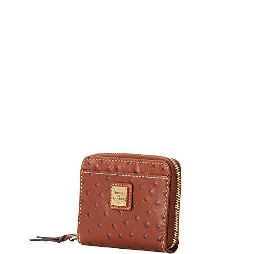 Dooney & Bourke Ostrich Embossed Leather Credit Card Wallet, Cognac