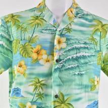 Royal Creations Hibiscus Medium Waves Palm Trees Hawaiian Aloha Shirt - $29.69