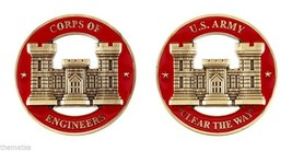 "ARMY CORPS OF ENGINEERS CLEAR THE WAY 1.75""  MILITARY RED GOLD  CHALLENG... - $16.24"