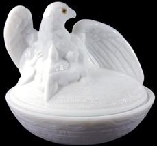 "Vintage 1970s Westmoreland Milk Glass Spread Wing Eagle Pattern 7""l Covered Dish - $89.99"