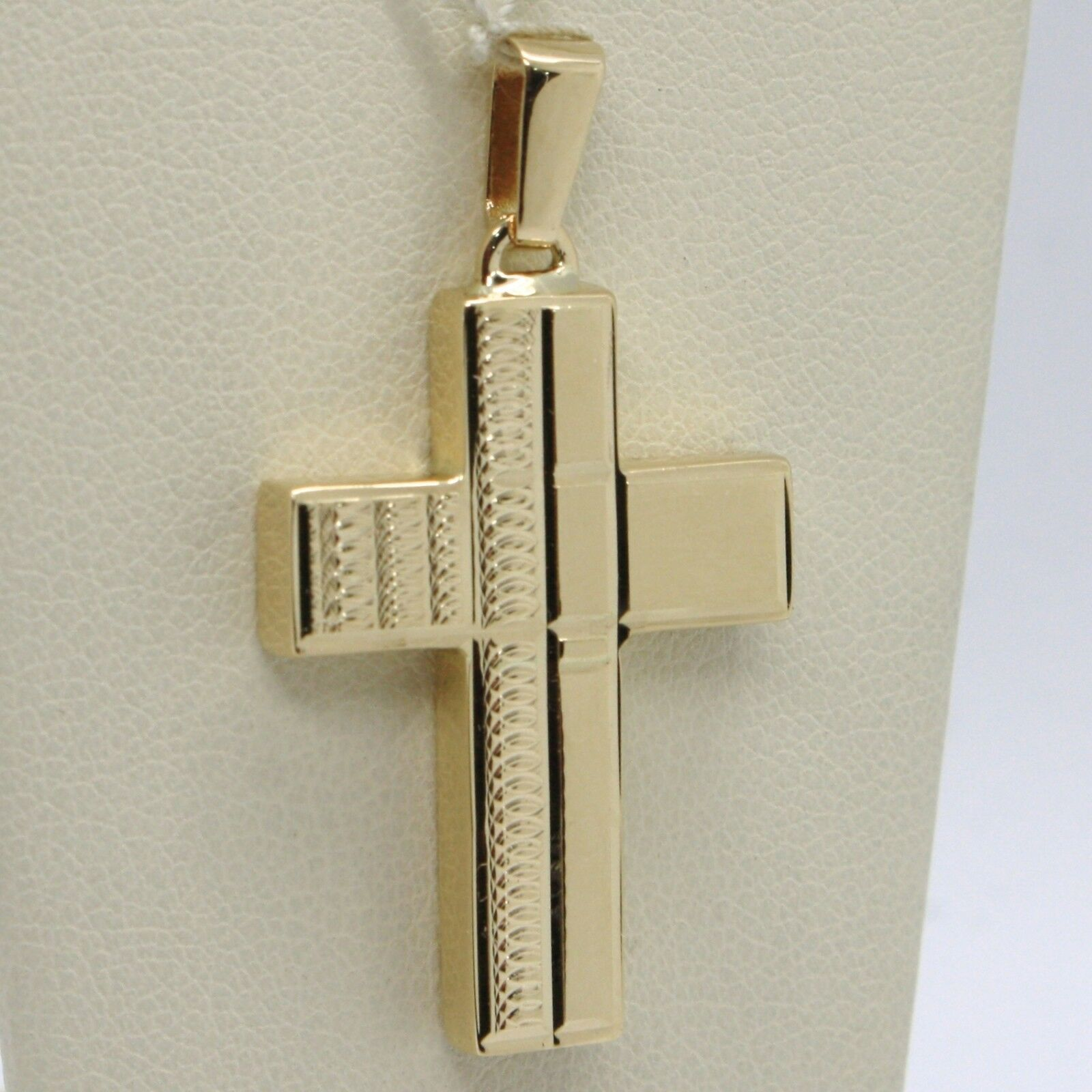 18K YELLOW GOLD PENDANT SQUARE STYLIZED CROSS, WORKED, SMOOTH, MADE IN ITALY