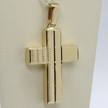 18K YELLOW GOLD PENDANT SQUARE STYLIZED CROSS, WORKED, SMOOTH, MADE IN ITALY image 1