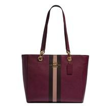 NWT COACH Jes Tote Varsity Stripe Shoulder Bag Dark Berry Raspberry Wine... - $123.75