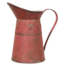 Primitive Kitchen Decor Red Metal Pitcher Farmhouse Log Cabin Rustic Pla... - $28.70