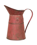 Primitive Kitchen Decor Red Metal Pitcher Farmhouse Log Cabin Rustic Pla... - $37.85 CAD