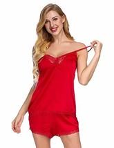 Satin Camisoles for Women Silk PJ Sets V-Neck Lace Sleepwear Red XL - $14.18