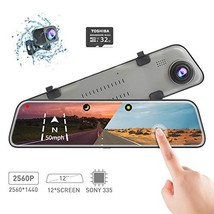 Backup Camera Car Mirror Dash Cam,12'' IPS Full Touch Screen,2560P+1080P... - $207.04