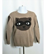 Gymboree Raccoon Sweater Toddler Boys 3T Brown 100% Cotton Knit Woodland... - $13.86