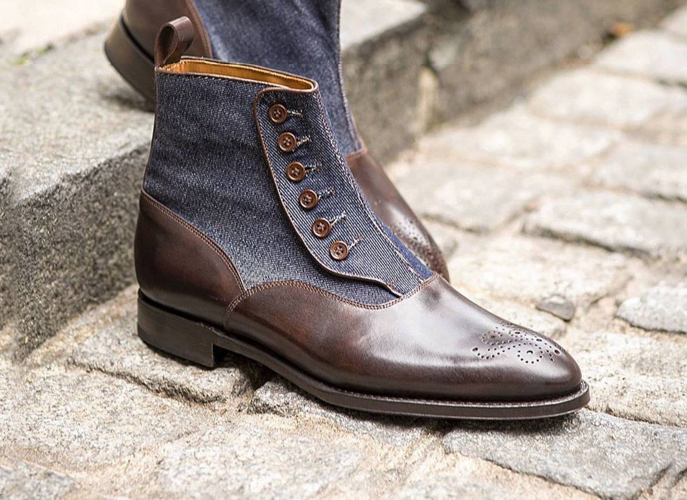 Handmade Men's Brown Leather And Blue Suede Brogues Style Buttons Boots