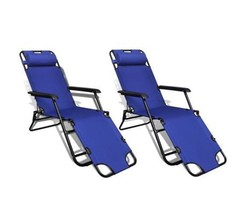 2 Pcs Outdoor Sun Lounger Folding Beach Chair Camping Chairs With Footre... - $140.13